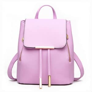 Women's Candy Color PU Leather Backpack