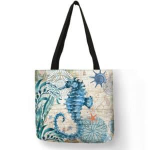 Sea Themed Printed Linen Shopper Shoulder Bag