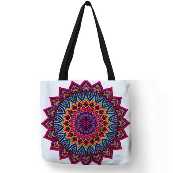 Women's Mandala Printed Linen Shopper Shoulder Bag