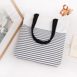 Striped Cotton Eco Tote Bag