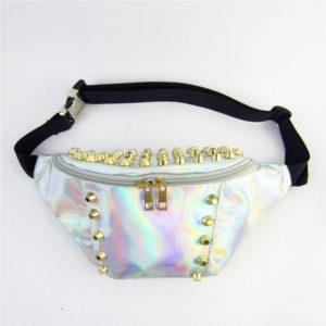Women's Holographic Rivet Waist Bag