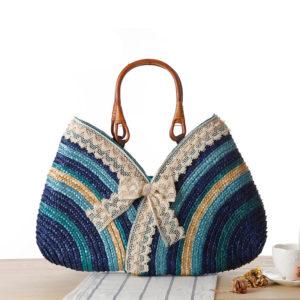Striped Natural Straw Women's Beach Handbag