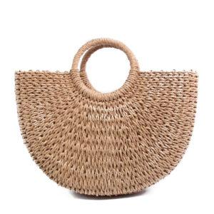 Women's Summer Straw Beach Top-Handle Bag