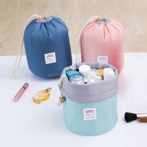 Women's Waterproof Barrel Cosmetic Bag