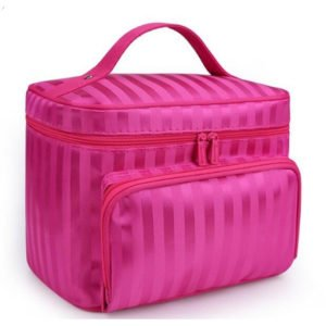 Woman's Striped Cosmetic Bag