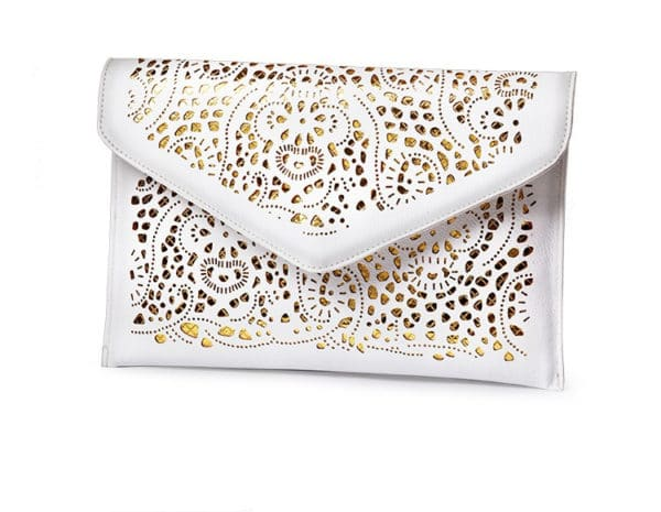 Fashion Envelope Shaped Leather Women's Clutch Bag with Chain