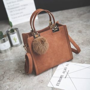 Casual Women's Top-Handle Bag with Fur Pendant
