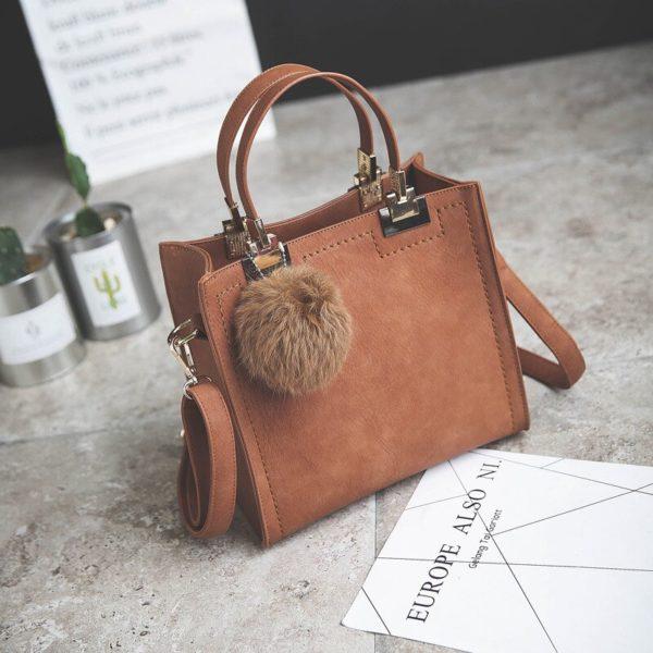 Casual Women's Top-Handle Bag with Fur Pendant